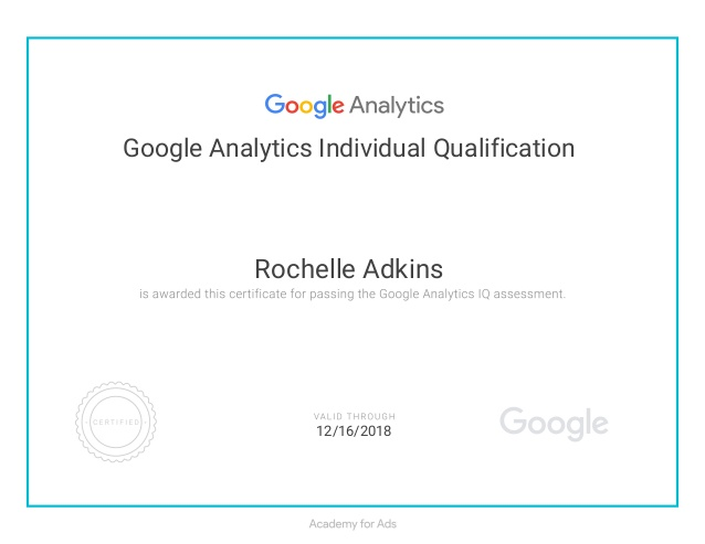 google analytics certicifate example