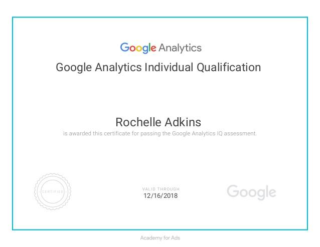 google analytics certicifate example